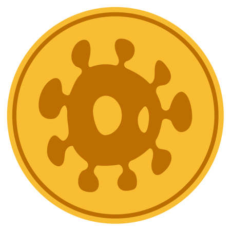 Bacteria golden coin icon. Vector style is a gold yellow flat coin symbol. Illustration