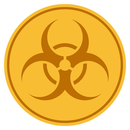 Biohazard golden coin icon. Vector style is a gold yellow flat coin symbol. Illustration