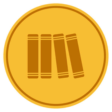 Books golden coin icon. Vector style is a gold yellow flat coin symbol.