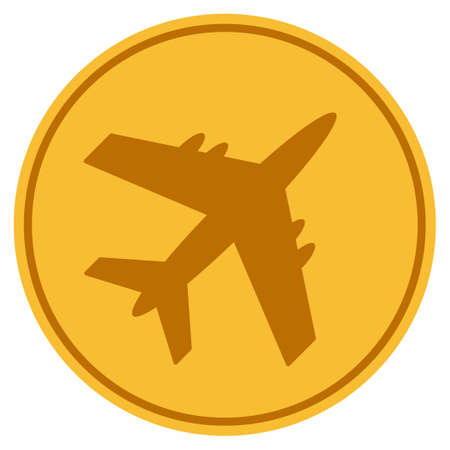 Aircraft golden coin icon. Vector style is a gold yellow flat coin symbol. Illustration