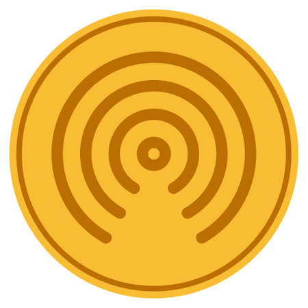Airdrop Center golden coin icon. Vector style is a gold yellow flat coin symbol. Illustration