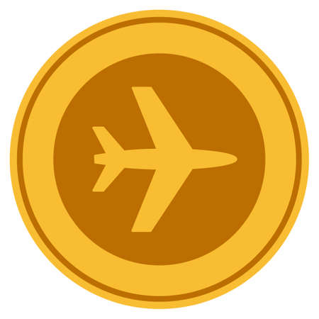 Airport golden coin icon. Vector style is a gold yellow flat coin symbol. Illustration