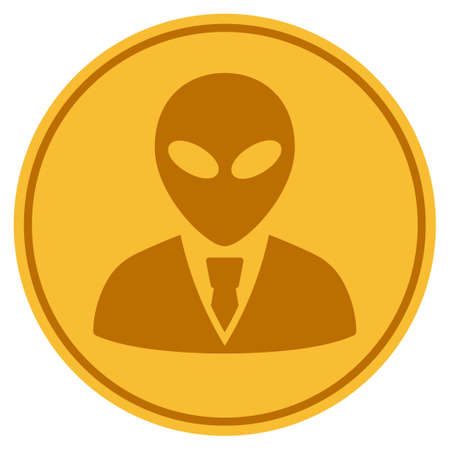 Alien Manager golden coin icon. Vector style is a gold yellow flat coin symbol. Illustration