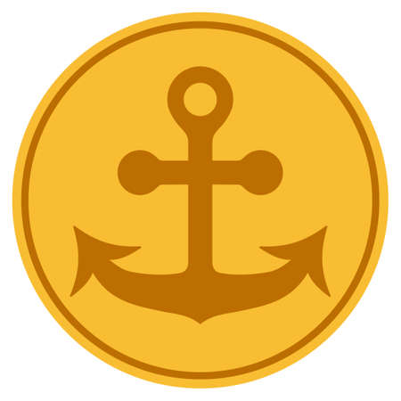 Anchor golden coin icon. Vector style is a gold yellow flat coin symbol. Illustration