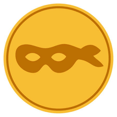 Anonymous Mask golden coin icon. Vector style is a gold yellow flat coin symbol.