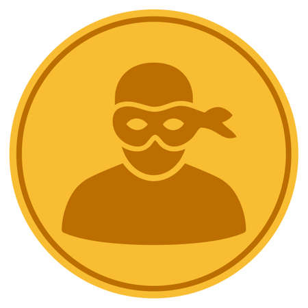 Anonymous Thief golden coin icon. Vector style is a gold yellow flat coin symbol.