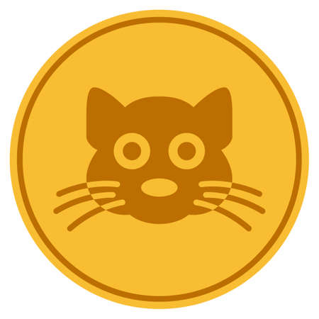 Cat golden coin icon. Vector style is a gold yellow flat coin symbol.