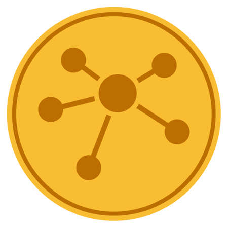 Connections golden coin icon. Vector style is a gold yellow flat coin symbol.