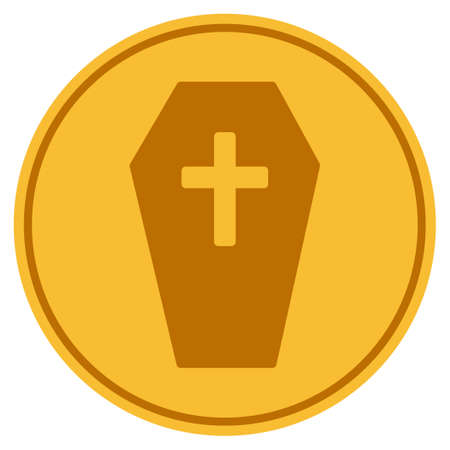 Coffin golden coin icon. Vector style is a gold yellow flat coin symbol. Illustration