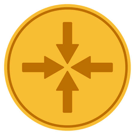 Collide Arrows golden coin icon. Vector style is a gold yellow flat coin symbol.