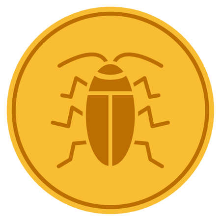 Cucaracha golden coin icon. Vector style is a gold yellow flat coin symbol.