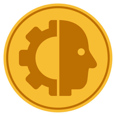 Cyborg Head golden coin icon. Vector style is a gold yellow flat coin symbol.