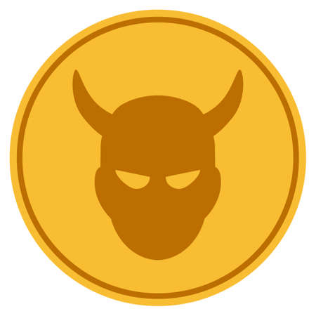 Demon golden coin icon. Vector style is a gold yellow flat coin symbol.