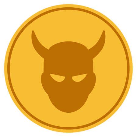 Demon golden coin icon. Vector style is a gold yellow flat coin symbol. Banco de Imagens - 92317670