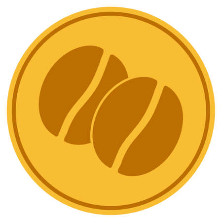 Coffee Beans golden coin icon. Vector style is a gold yellow flat coin symbol.