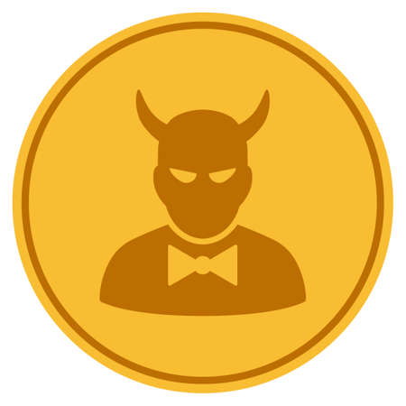 Devil golden coin icon. Vector style is a gold yellow flat coin symbol. Illustration