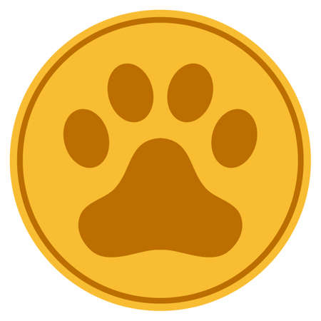 Dog Step golden coin icon. Vector style is a gold yellow flat coin symbol.