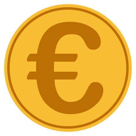Euro Symbol golden coin icon.