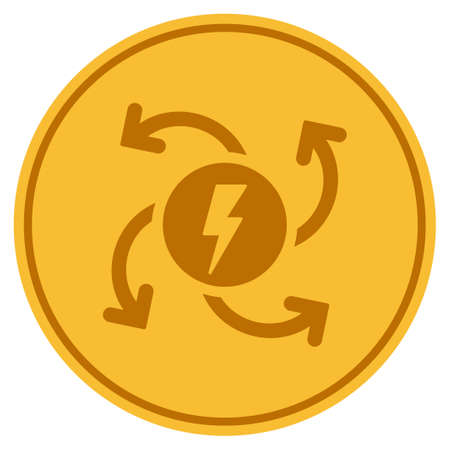 Electric Generator golden coin icon. Çizim