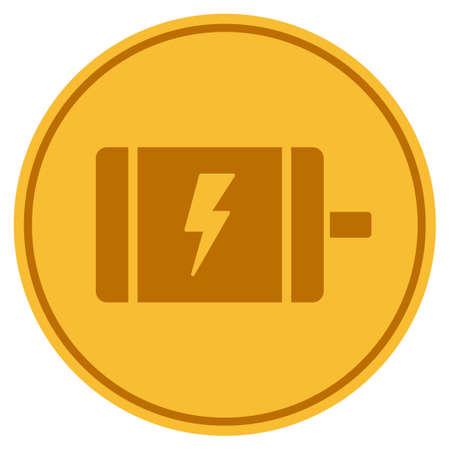 Electric Motor golden coin icon.