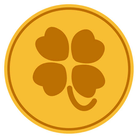 Four-Leafed Clover golden coin icon.