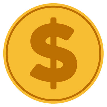 Dollar golden coin icon. Vector style is a gold yellow flat coin symbol.