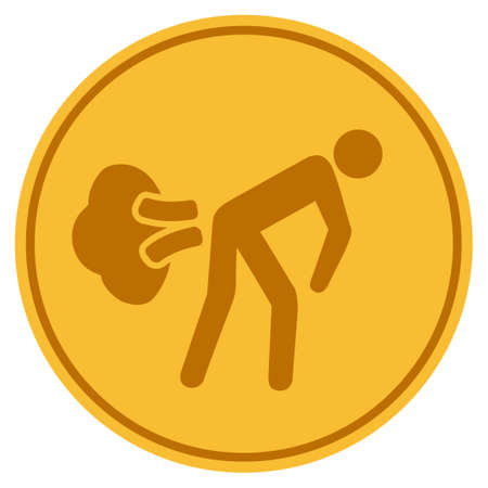 Fart Gases golden coin icon. Vector style is a gold yellow flat coin symbol.