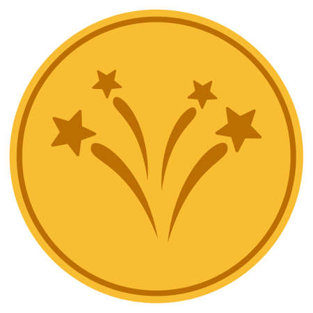 Fireworks golden coin icon. Vector style is a gold yellow flat coin symbol.