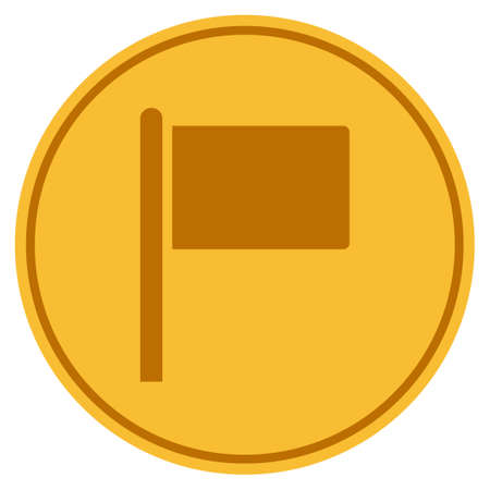 Flag Pointer golden coin icon. Vector style is a gold yellow flat coin symbol.