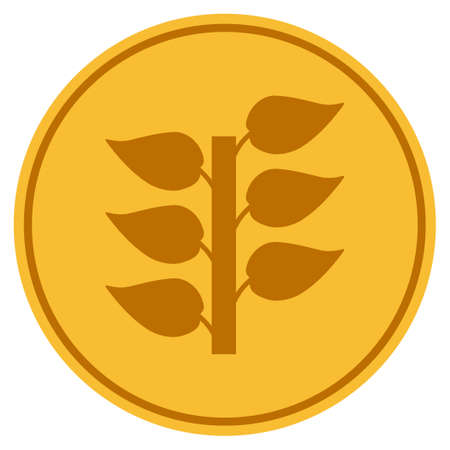 Flora Plant golden coin icon. Vector style is a gold yellow flat coin symbol.