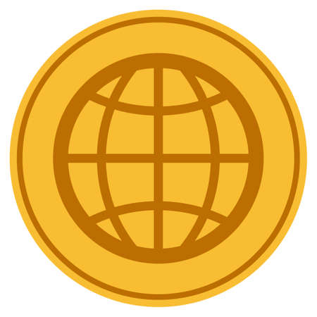 Globe golden coin icon. Vector style is a gold yellow flat coin symbol. Illustration