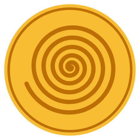 Hypnosis Spiral golden coin icon. Vector style is a gold yellow flat coin symbol. Illustration