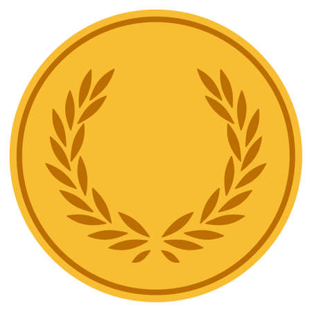 Laurel Wreath golden coin icon. Vector style is a gold yellow flat coin symbol.