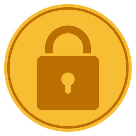 Lock golden coin icon. Vector style is a gold yellow flat coin symbol.