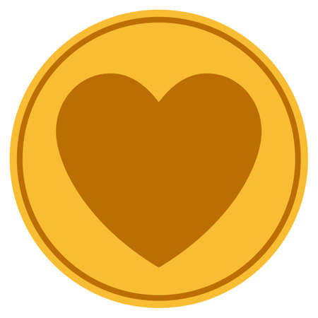 Love Heart golden coin icon. Vector style is a gold yellow flat coin symbol.