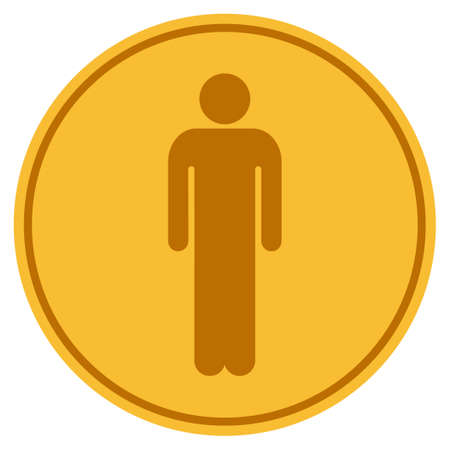 Man golden coin icon. Vector style is a gold yellow flat coin symbol.