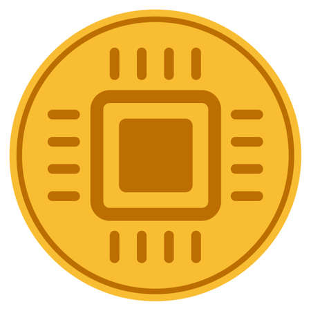 Microprocessor golden coin icon. Vector style is a gold yellow flat coin symbol. Vektorové ilustrace