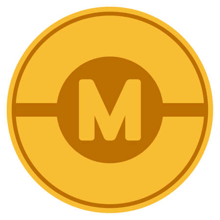 Motor golden coin icon. Vector style is a gold yellow flat coin symbol. Illustration