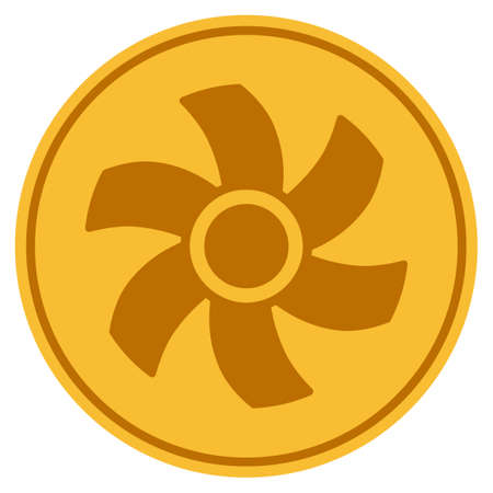 Rotor golden coin icon. Vector style is a gold yellow flat coin symbol.
