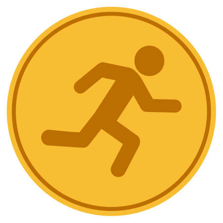 Running Man golden coin icon. Vector style is a gold yellow flat coin symbol.