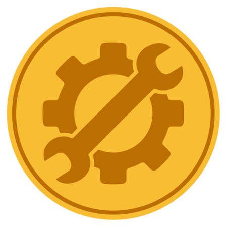 선택적 기어 황금 동전 아이콘입니다. 벡터 스타일 골드 노란색 평면 동전 기호입니다.