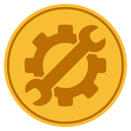 Optional Gear golden coin icon. Vector style is a gold yellow flat coin symbol.