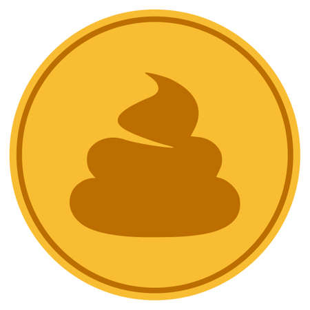 Shit golden coin icon. Vector style is a gold yellow flat coin symbol. Vektorové ilustrace