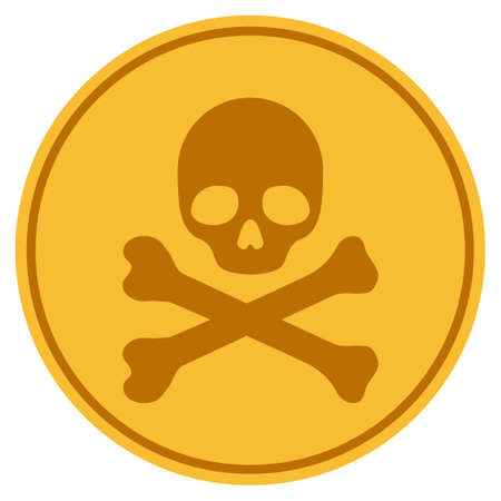 Skull And Crossbones golden coin icon. Vector style is a gold yellow flat coin symbol. Illustration