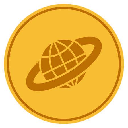 プラネタリーリングゴールデンコインアイコン。ベクトルスタイルは、ゴールドイエローフラットコインシンボルです。
