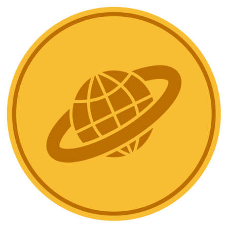 Planetary Ring golden coin icon. Vector style is a gold yellow flat coin symbol.