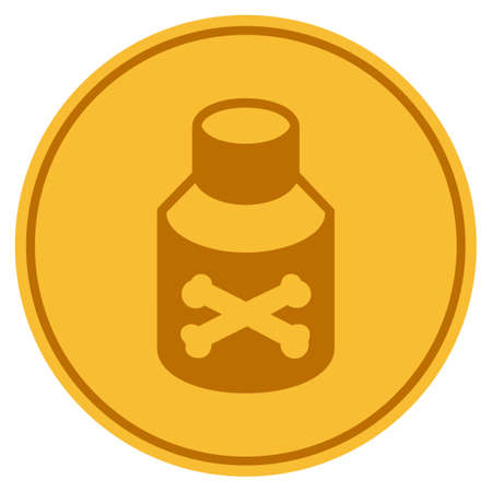 Poison golden coin icon. Vector style is a gold yellow flat coin symbol. Illustration
