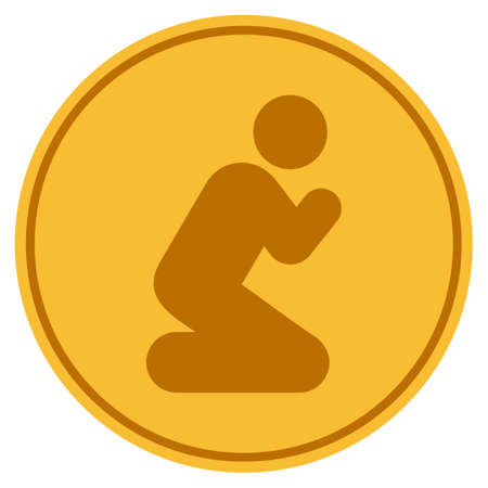 Praying Pose in golden coin icon vector illustration