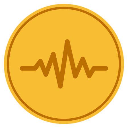 Pulse Signal golden coin icon vector illustration Illustration