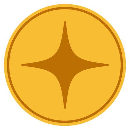 공간 스타 황금 동전 아이콘입니다. 벡터 스타일 골드 노란색 평면 동전 기호입니다. 일러스트
